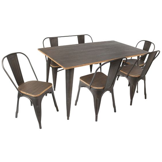 bàn ghế tolix mặt gỗ