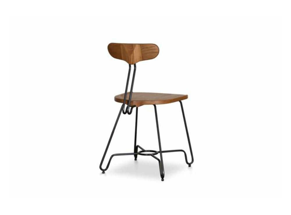 Ghế chân sắt mặt gỗ theo phong cách tân cổ điển
