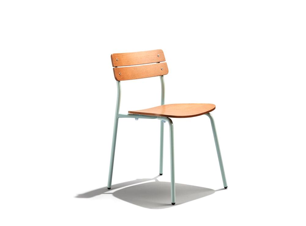 Mẫu ghế chân sắt mặt gỗ đa sắc màu dành cho nhà hàng